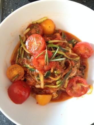 Tomato Basil Zucchini Pasta