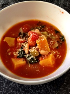 Butternut Squash Kale and White Bean Soup