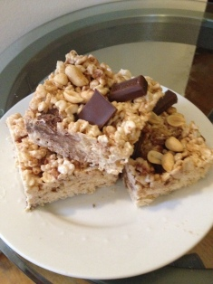 Peanut Butter Chocolate Chunk Rice Krispy Treats