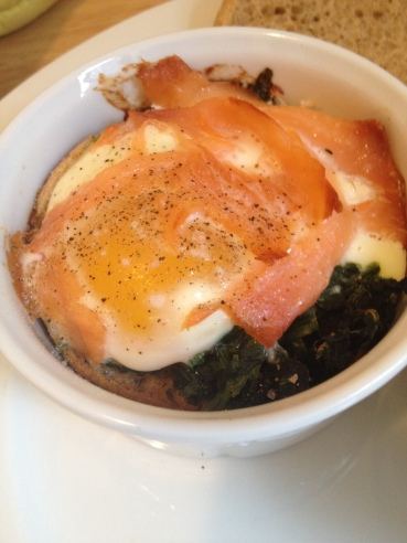 Smoked Salmon and Spinach Baked Eggs