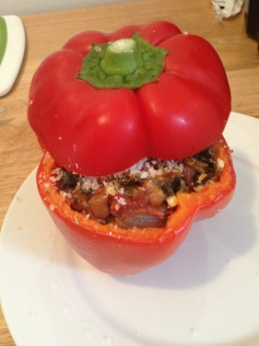 Lentil and Kale Stuffed Peppers