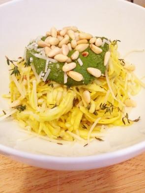 Yellow Squash Pasta with Spinach Basil Pesto