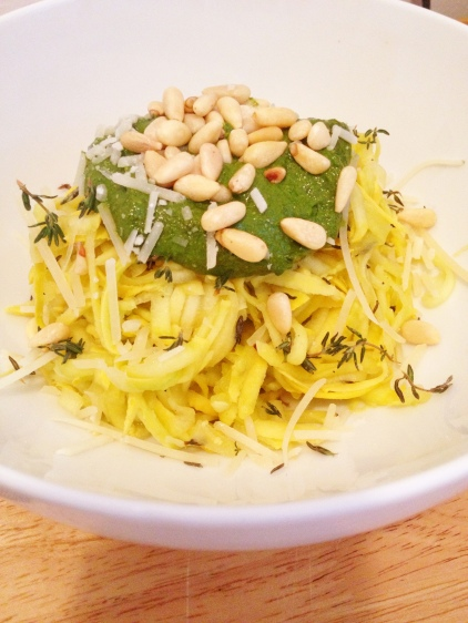 Yellow Squash Pasta with Spinach Basil Pesto