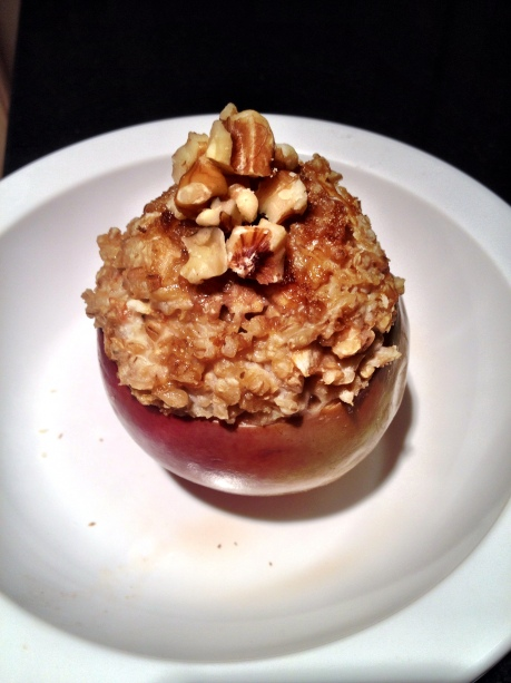Cinnamon Walnut Oatmeal Stuffed Apples