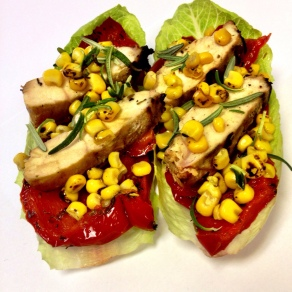 Roasted Red Pepper & Corn Grilled Chicken Boats