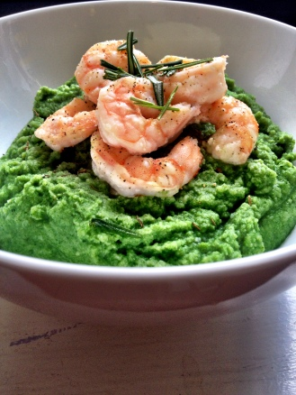 Garlic Shrimp over Spinach Cauliflower Mash