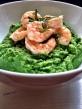 Garlic Shrimp over Spinach Cauliflower Mash