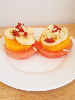 Citrus Fruit Tower with Bananas and Gojji Berries