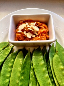 Spicy Almond Dip with Snow Peas