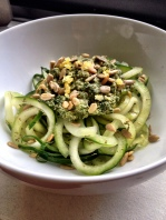 Cucumber Noodles with Lemon Mint Sunflower Seed Pesto